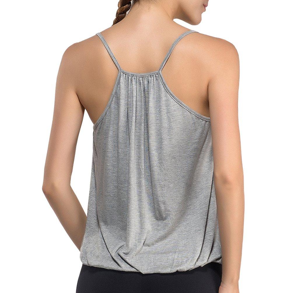 DISBEST Women's Sexy Deep V Neck Sleeveless Halter Tops T-Shirt,Gray,L/US 8