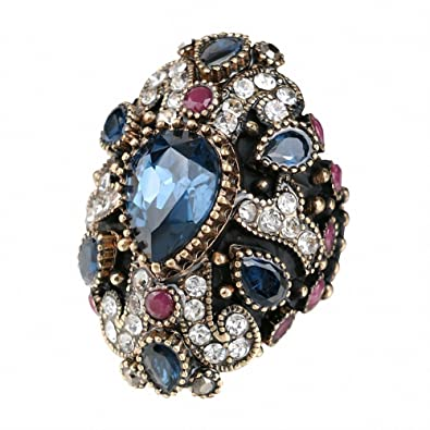 BiLiBiLi Jewelry Vintage Wedding Rings for Women Crystal Antique Gold  Plated Party Cocktail Ring (7 493b4488e4c4