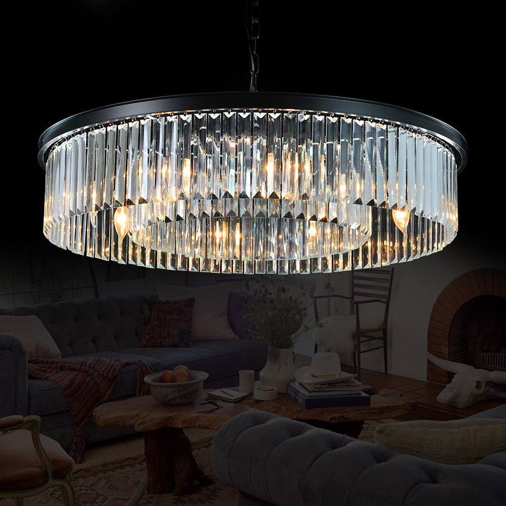 Meelighting Crystal Chandeliers Modern Contemporary Ceiling Lights Fixtures Pendant Lighting for Dining Room Living Room Chandelier D33.5'' (8 Lights)