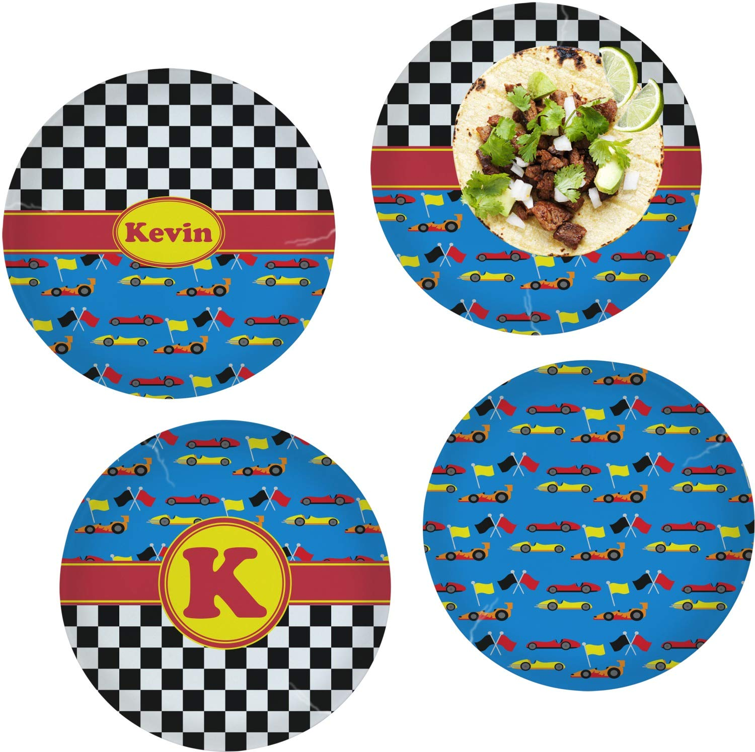 Racing Car Set of 4 Glass Lunch/Dinner Plate 10'' (Personalized)