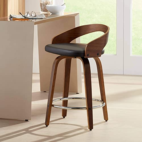 WOYBR Wood, Pu Leather Grotto Counter Stool
