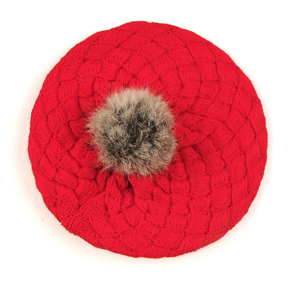 Elfjoy Baby Knitted Beanie Hat Cake Beret Crochet Rib Pom Pom Warm Cap AY0823