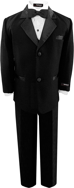 B001GQARF0 Gino Usher Wedding Husky Boy Black Tuxedo Suit with Bow 71YaID5AlsL