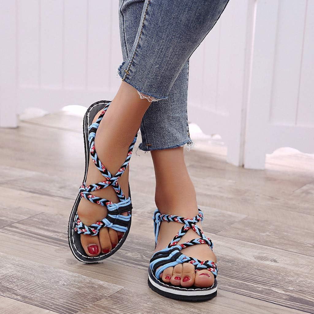 Swiusd Shoes Woman Girls Weaved Drawstring Sandals Comfy Flat Elastic Strap Slingback Sandals Peep Toe Non Slip Thick Bottom Sandals