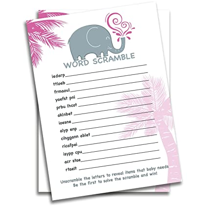 braindango 30 pack pink elephant baby shower game word scramble girl large 5x7 thick easy