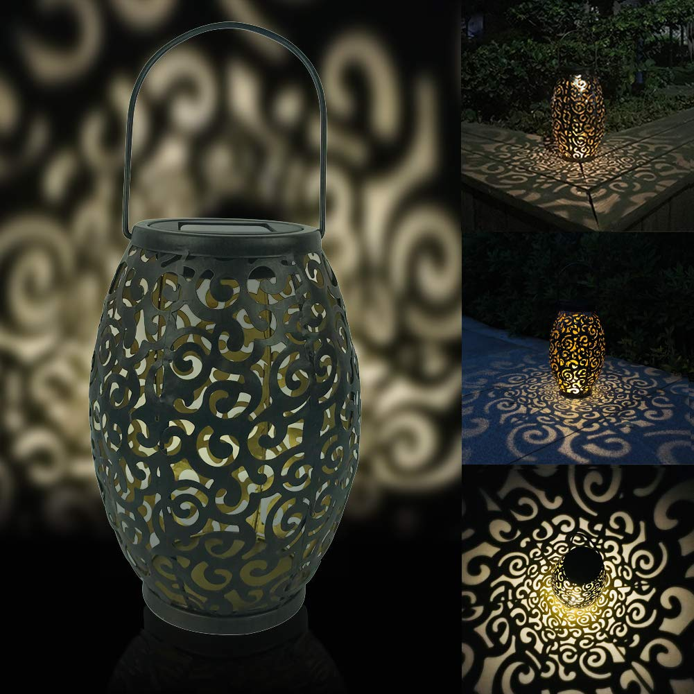 Tubwair LED Solar Lantern Hanging Moroccan Silhouette Solar Lights Auspicious Cloud Landscape Outdoor Garden Lighting Waterproof Lamp for Patio Courtyard Energy Class A+