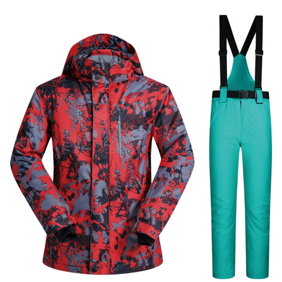 Cvthfyky Herren Mountain Waterproof Ski Jacket Windproof Regenjacke und Hose Set