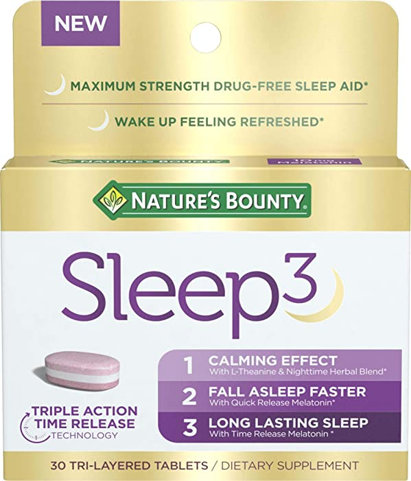 Nature's Bounty Sleep3, Tri-Layer Drug-Free Sleep Aid with Melatonin for Long Lasting Sleep plus L-Theanine, Chamomile and Lavender, 30 count