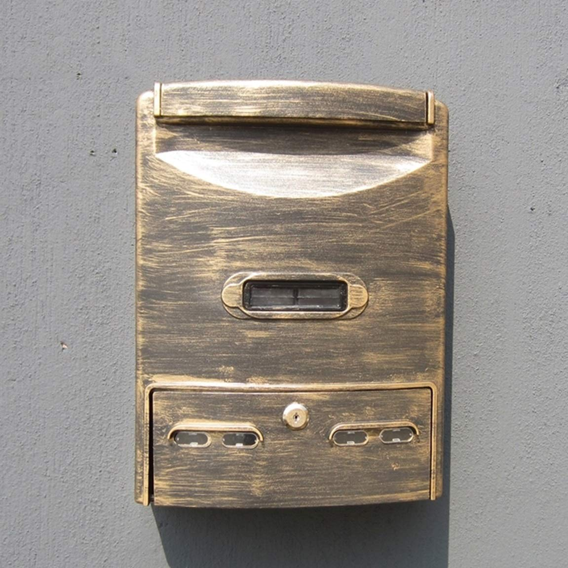 HLQW ヨーロッパのレターボックスRainproof屋外の壁ハンギングコレクションボックス模造の古代金   B07JLPDN8W
