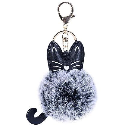 Llavero con pompón y orejas de gato de Lonshell, ideal para las llaves de casa o el coche, para colgar de la cartera o el bolso