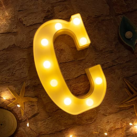 Brightown Decorative LED Marquee Letter Lights 26 Alphabet Light Up Letters Sign for Wedding Birthday Party Night Light Home Bar Decoration Battery Operated (C)