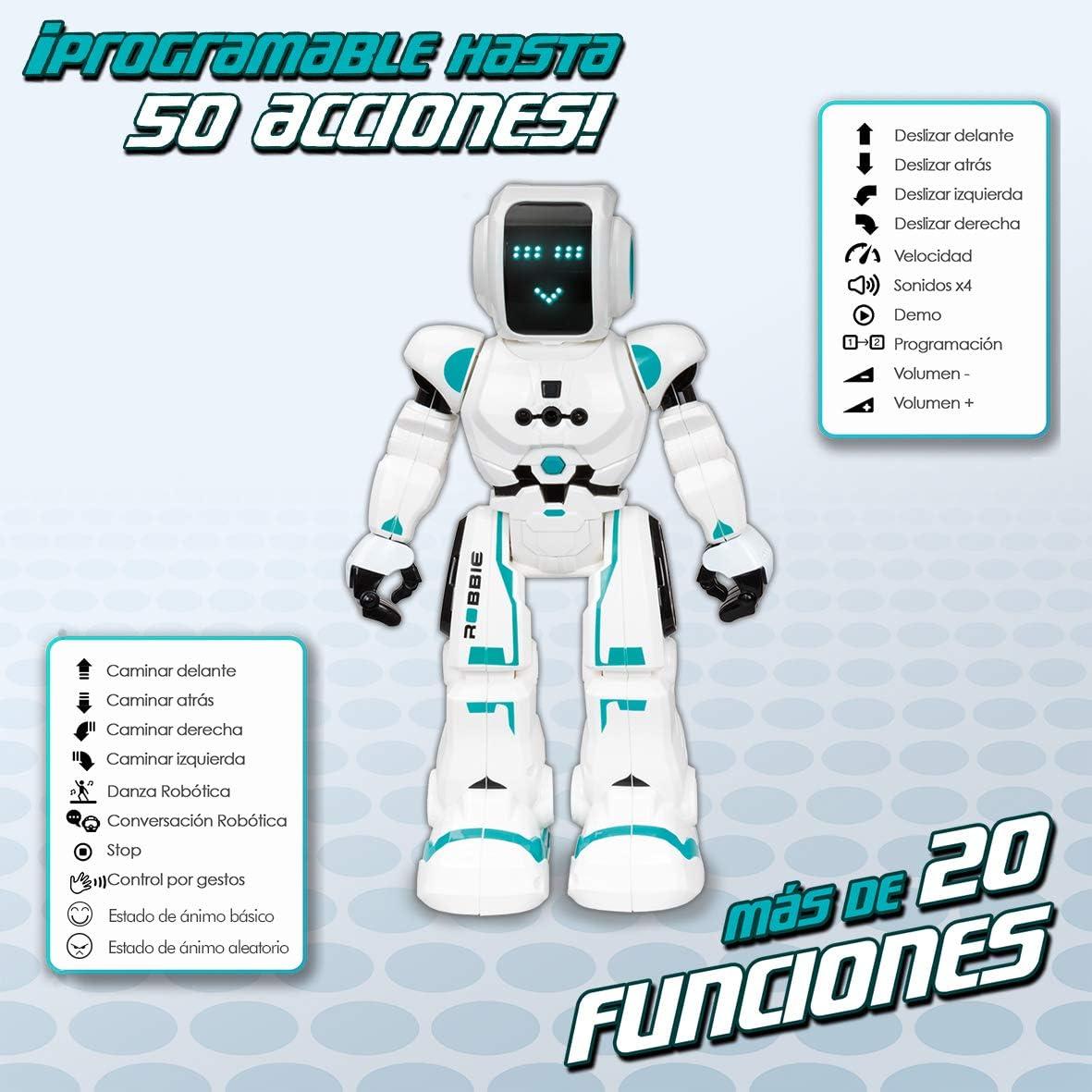 colore: bianco//blu con sensore di movimento e telecomando programmabile XT380831 XTREM BOTS Robbie robot per bambini