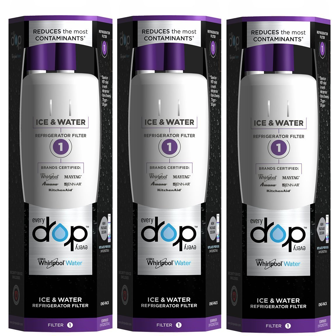 (Pack of 3)Refrigerator Water Filter For EveryDrop W10295370 W10295370A 469930 Whirlpool Maytag &Kenmore Refrigerator Water Filter 1