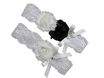 Black And White Ivory Lace Wedding Garter Set W Pearl Rhinestone