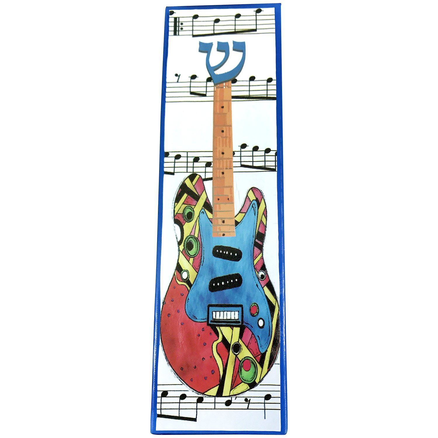 EASY MOUNT Electric Guitar Art Glass Mezuzah, GIFT BOX and Non-Kosher Scroll INCLUDED. Great Mezuzah for Bar or Bat Mitzvah Gift, Music Lover, Kids Room, Dorm