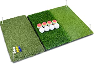 """Perfshot Tri-Turf 3-in-1 Golf Hitting Mat with Realistic Tee Box 