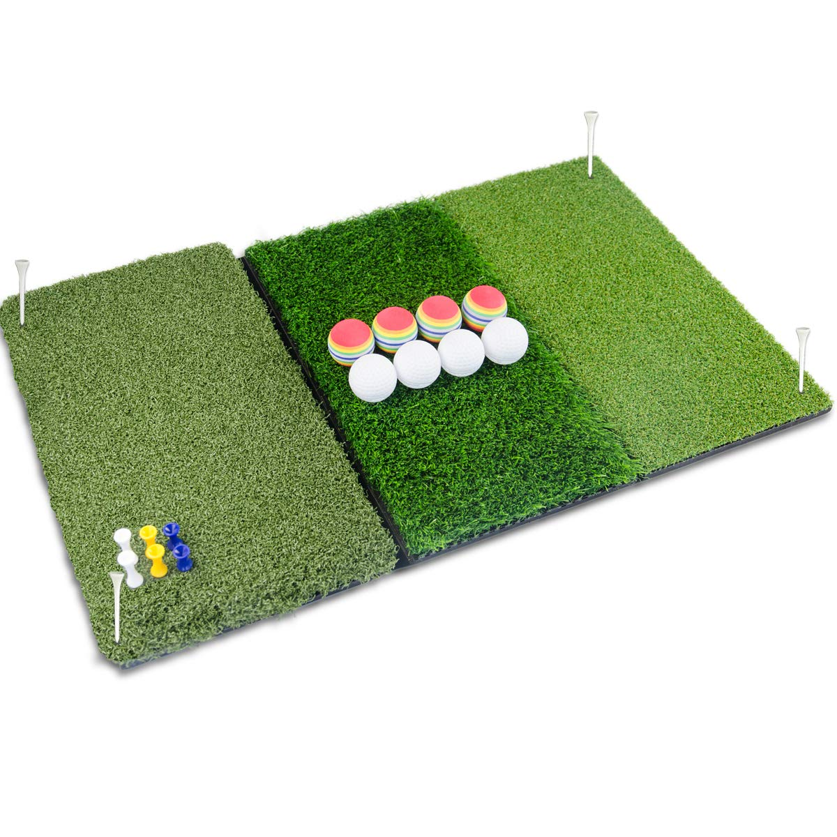 Perfshot Tri-Turf 3-in-1 Golf Hitting Mat with Realistic Tee Box Fairway Rough for Chipping Driving Practice Training Mat 16 25