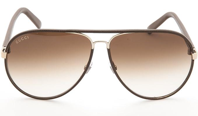 3005bb8f621 GUCCI GG2887 S Aviator Sunglasses Dark Chocolate Leather (0UZF) 2887 ...