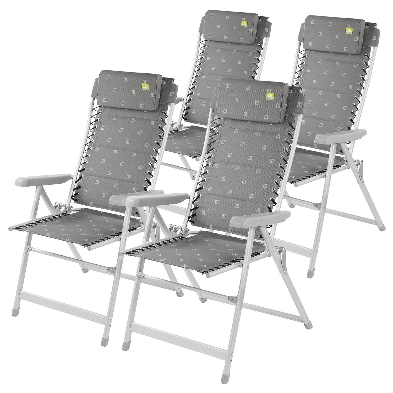 Via Mondo Campingstuhl Klappbar 4er Set, (L/T/H) 68x84x121cm, 5,9 kg, Aluminium, Polyestergewebe, Max. 100 kg