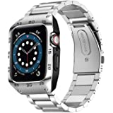 HATALKIN Compatible with Apple Watch Band 44mm Series 6 5 4 SE with Rugged Metal Bumper Case,Men Bands for Apple Watch SE/iWa