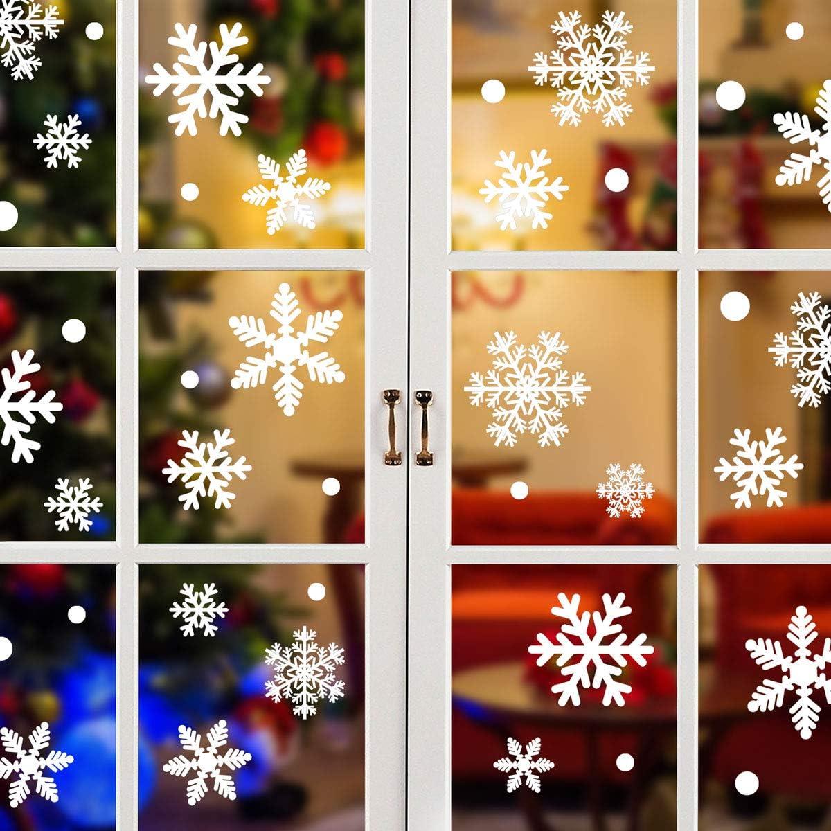Yuson Girl 192 PCS Lote Copos de Nieve Pegatinas Navidad Ventana Reutilizable Decoracion Navidad Exterior Interior Murales Decorativos Adornos de Pared Puerta para Fiesta Tienda Casa