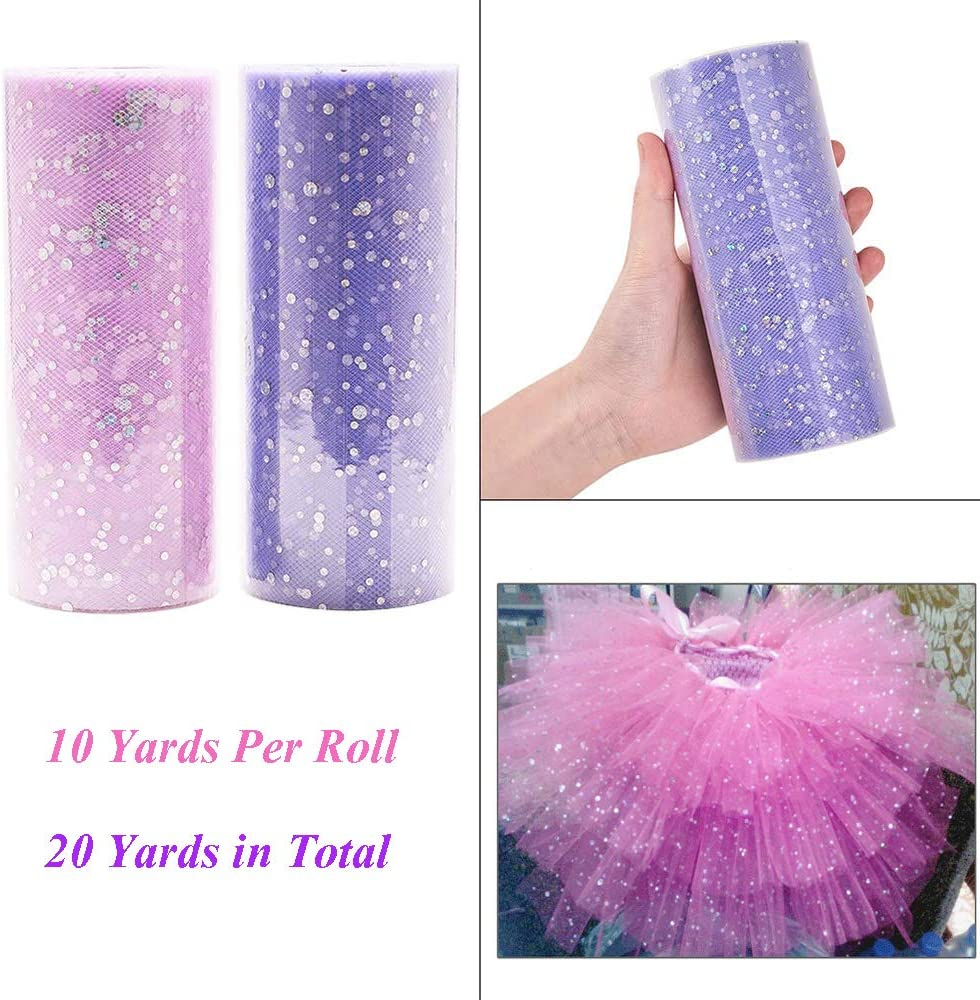 Konsait 15CMx50Yards Pink and White Glitter Tulle Rolls Tulle Spool Assortment for Table Runner Chair Sash Bow Pet Tutu Skirt Sewing Crafting Fabric Wedding Unicorn Halloween Party Gift Ribbon