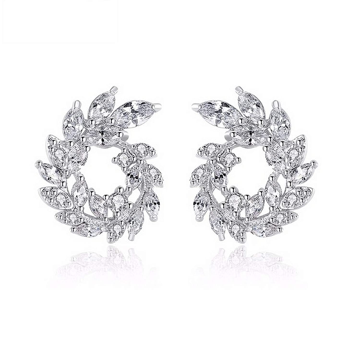 CS-DB Silver Luxury White Marquise Cut Clear CZ Paved Olive Branch Circle Stud Charm Earrings