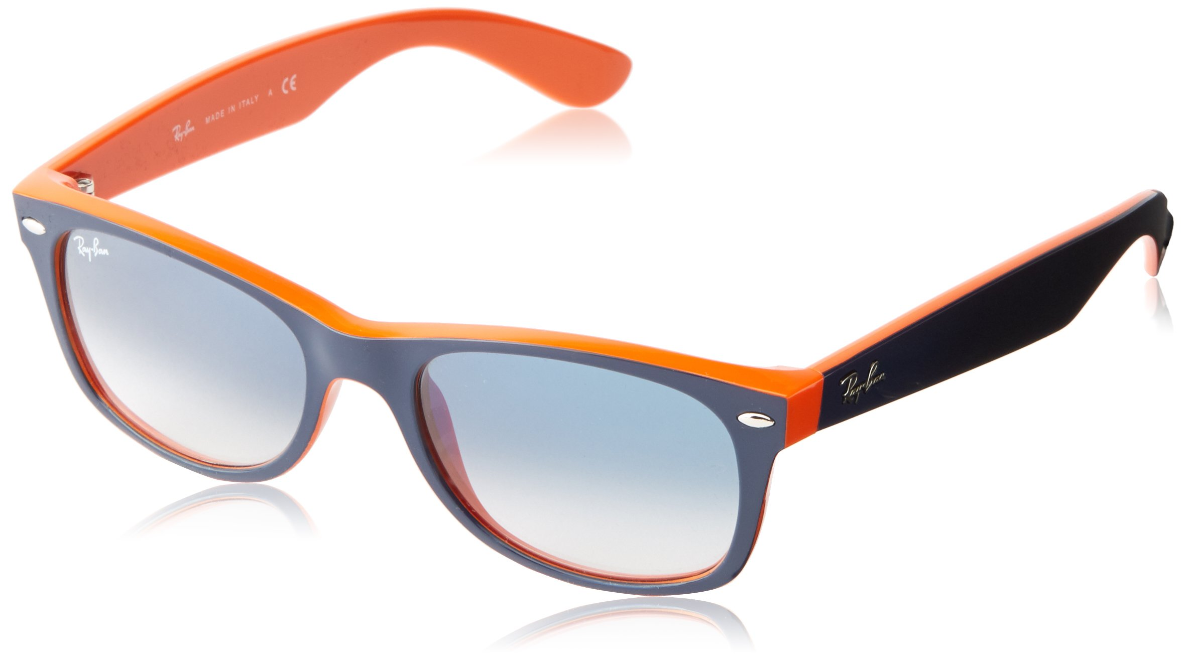 Ray-Ban RB2132 New Wayfarer Non Polarized Sunglasses, Blue/Orange, Light Blue Gradient, 52 mm