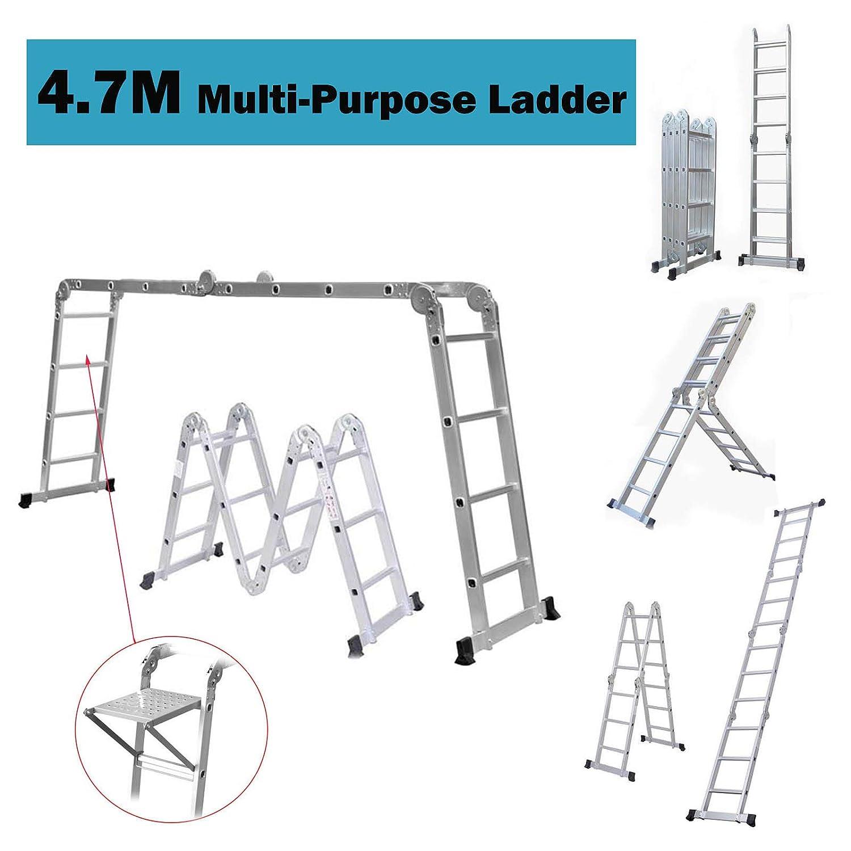 14 en 1 4,7 m plegable multifunción escalera telescópica doble estabilizador barras con 1 bandeja de herramientas, 150 kg de capacidad de carga: Amazon.es: Bricolaje y herramientas