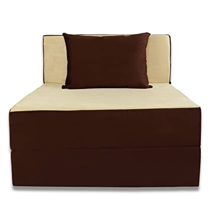 Adorn India Easy Single Seater Sofa cum Bed (Brown and Gold)
