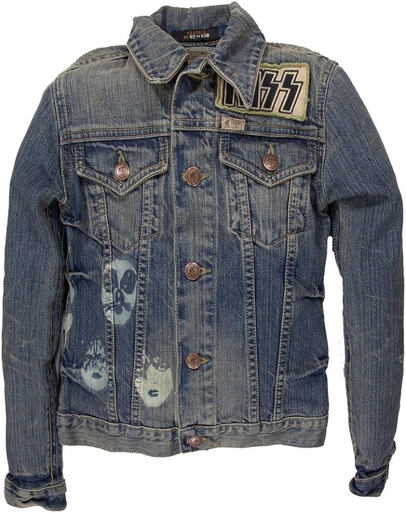 US Tour 77 Premium Juniors Denim Jacket Blue Small Kiss
