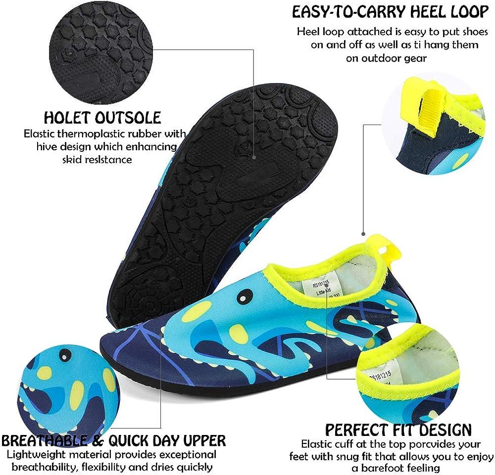 okilol Kids Water Shoes Non-Slip Quick Dry Swim Barefoot Beach Aqua Pool Socks for Boys /& Girls Toddler