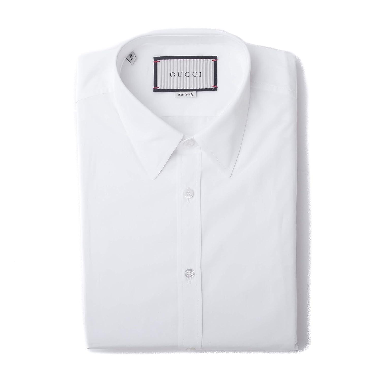 985ed5b5d71 Amazon.com  GUCCI Men s Cotton Classic Fit Button Front Dress Shirt White   Clothing