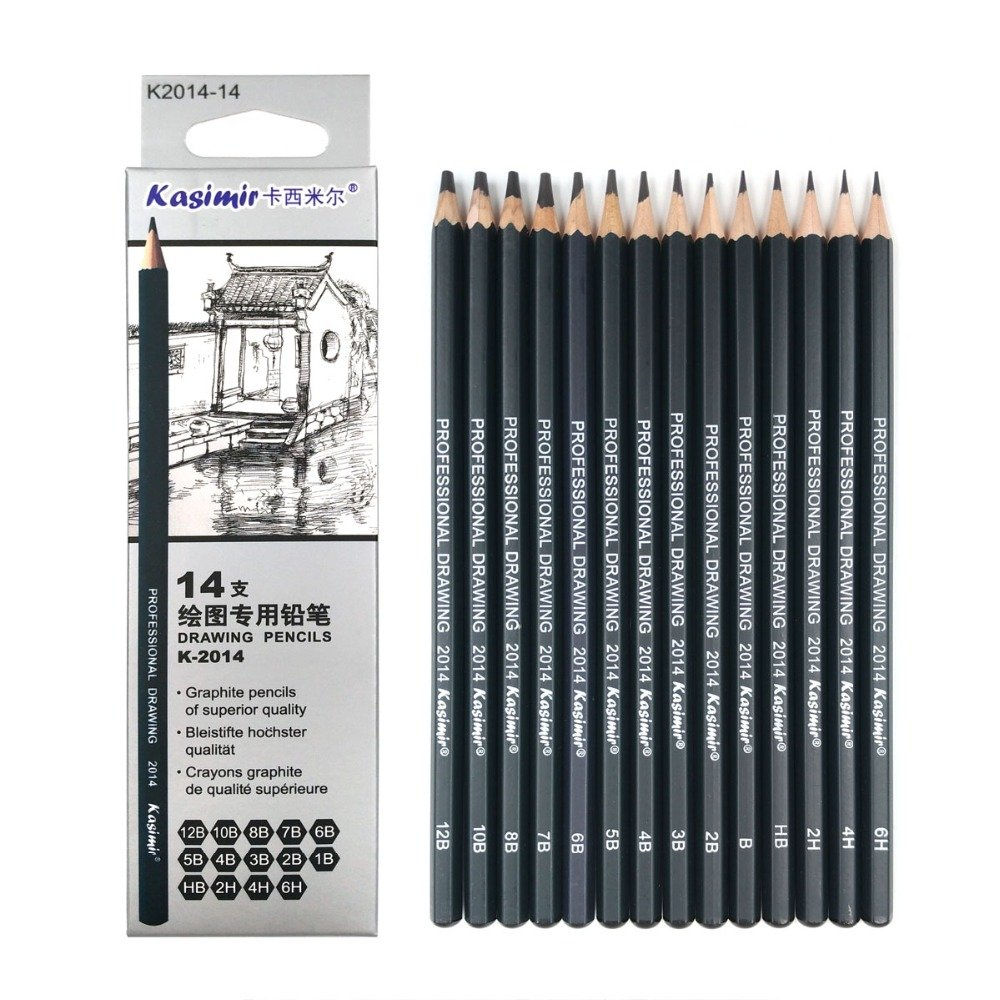 Best Quality 14pcs/set 12B 10B 8B 7B 6B 5B 4B 3B 2B B HB 2H 4H 6H Graphite Sketching Pencils Professional Sketch Pencils Set for Drawing