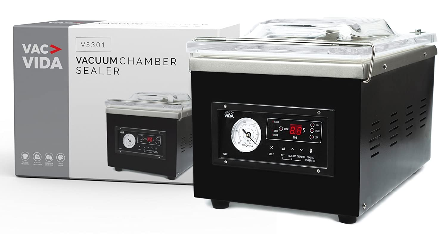 VAC-VIDA VS301 Chamber Vacuum Sealer Constructed With A Sleek Black Stainless Steel Outside Modern Control Panel Extra Powerful Oil Pump Perfect For Serious Home User Or Restaurant