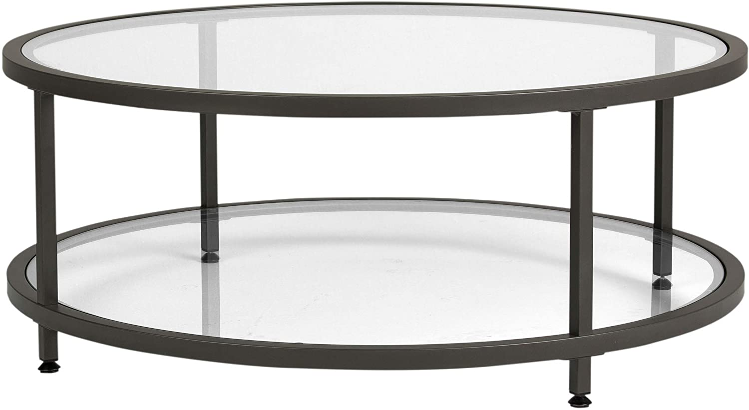 Amazon Com Studio Designs Home Camber Round Glass Coffee Table In Pewter With Clear Glass Living Room Coffee Table 71003 Furniture Decor