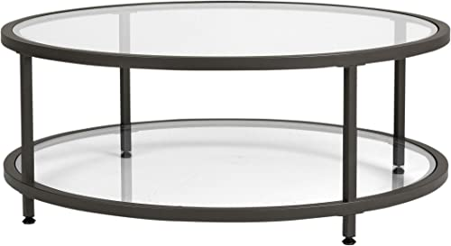Studio Designs Home Camber Round Glass Coffee Table In Pewter