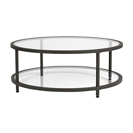 Studio Designs Home Camber Round Glass Coffee Table In Pewter With