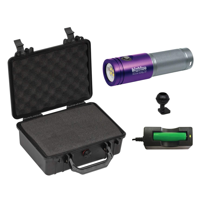 BigBlue AL1800XWP-II 1800 Lumen Tri-Color Dive Video Light (Purple/Silver with Case)