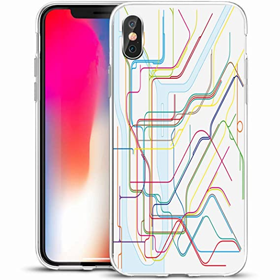 Creative Subway Map.Amazon Com Ahawoso Slim Protective Phone Case For Iphone X Xs 5 8