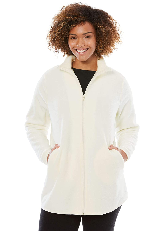c7c70e647ba Woman Within Women s Plus Size Zip-Front Microfleece Jacket at Amazon  Women s Coats Shop