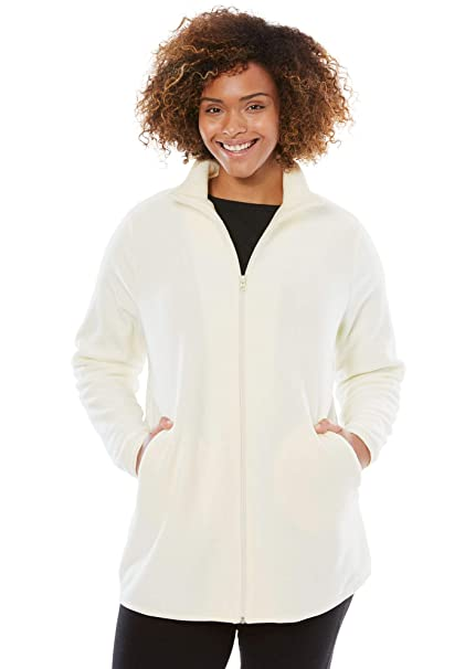 8c111c13cd0 Woman Within Women s Plus Size Zip-Front Microfleece Jacket - Ivory