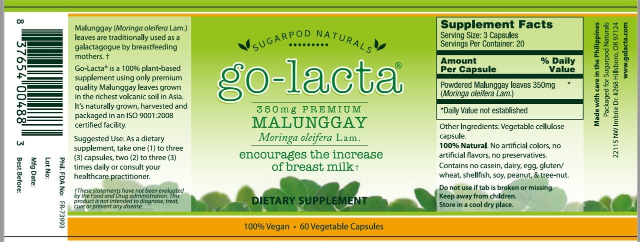 Go-Lacta Premium Malunggay (Moringa oleifera Lam.) Breastfeeding Supplement Clinically Proven To Support Lactation (60 capsules)