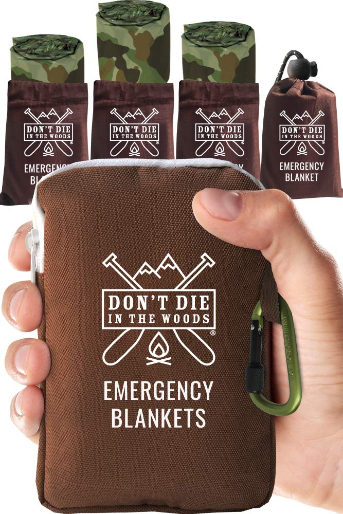 Don't Die In The Woods World's Toughest Emergency Blankets | 4 Pack Extra Large Thermal Mylar Foil Space Blanket for Hiking, Marathon Running, First Aid Kits, Outdoor Survival Gear | Camo by Don't Die In The Woods