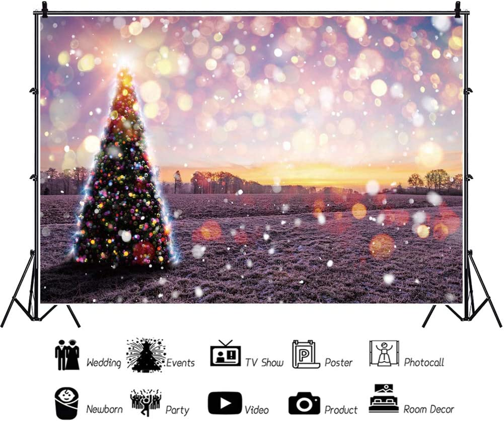Haoyiyi 10x8ft Sparkly Glitter Christmas Backgrounds Xmas Tree Lights Golden Spots Shinning Sparkle Bokeh Spots Glitter Backdrop Photography Baby Wedding Home Garden Photo Decoration