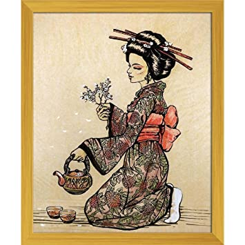Pitaara Box Japanese Tea Ceremony Canvas Painting Golden Frame 12 X 14 6inch Amazon In Home Kitchen