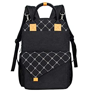 Hap Tim Diaper Bag Backpack Multi-Function Baby Bag Maternity Nappy Bags for Travel, Changing Bags, Large Capacity with Insulated Pockets Stoller Staps for Mom& Dad (K1031-BK)
