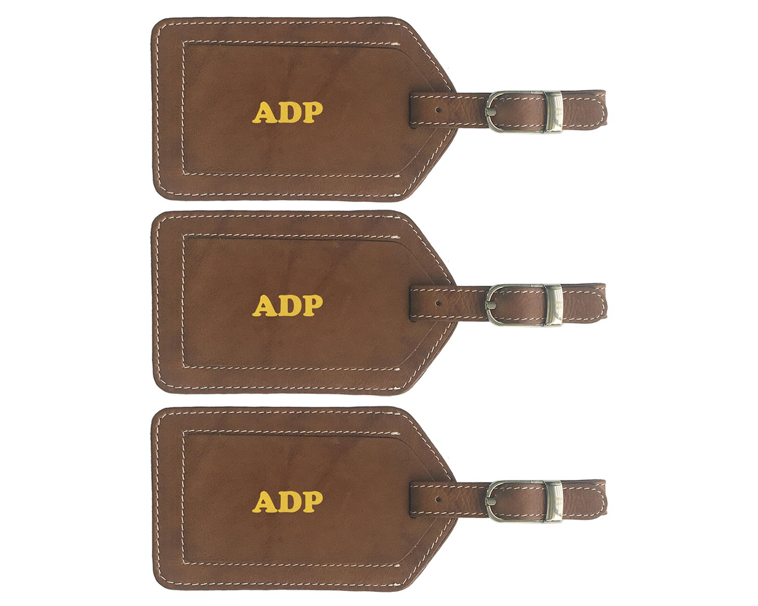 Personalized Monogrammed Antique Saddle Leather Luggage Tags - 3 Pack