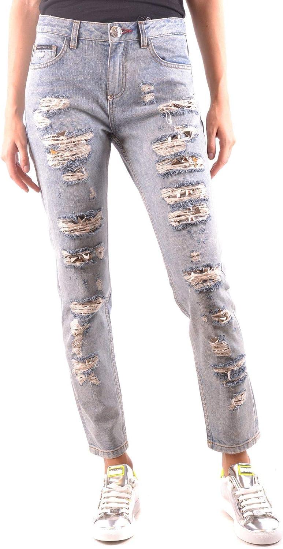Philipp Plein Luxury Fashion Womens MCBI35851 Light Blue Jeans | Season Outlet