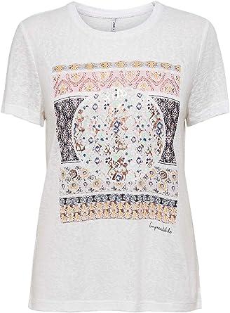 Only Onlpiper Reg S/S Print Top Box Jrs Camiseta para Mujer: Amazon.es: Ropa y accesorios